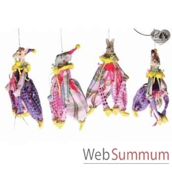 Lot de 4 décoration noël animaux cirque 12cm -B 31505