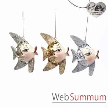 Décoration de noël poisson lot de 3 16cm -B 30661