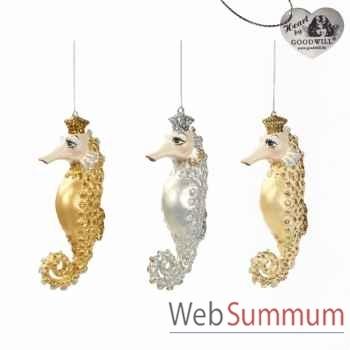 Lot de 3 décoration de noël hyppocampe 17cm -B 30656