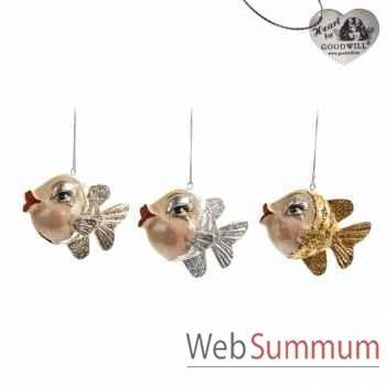 Lot de 3 décoration de noël poisson 9cm -B 30660
