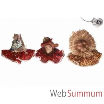 Lot de 3 têtes animaux 18cm -C 10411