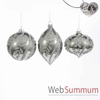 Lot de 3 boules de noël 12cm -C 12538
