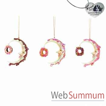 Lot de 3 lunes décoratives 13cm -B 30433