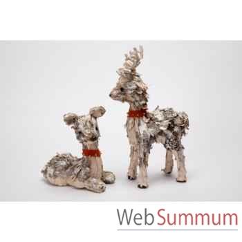 Lot de 2 statue renne 41,3cm -Y 31429