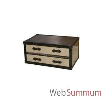 Table d'appoint mandalay black/rustic oak 70x70xh.50 cm Kingsbridge -TA2004-53-74
