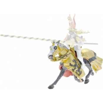 Collection les dragons cheval robe noir et or, lion noir figurine sans chevalet Figurine Plastoy 62038