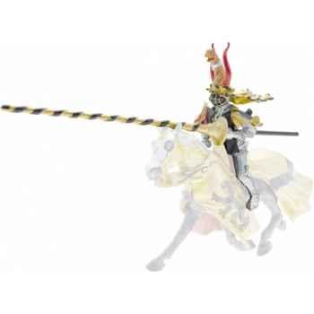 Collection les dragons chevalier cimier leopard et lance, noir et or (cavalier) figurine sans chevalet Figurine Plastoy 62036