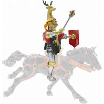 Collection les dragons chevalier cimier cerf, noir et or ( cavalier ou piéton) figurine sans chevalet Figurine Plastoy 62037