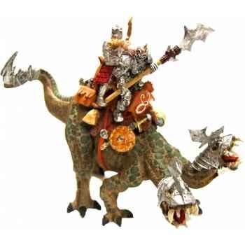 Les chateaux forts, machines et bÊtes de guerre le lézard d\'attaque à deux têtes ( avec deux cavaliers ) Figurine Plastoy 60241