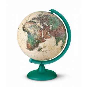 Globe Pied et méridien vert épicéa translucide - cartographie physique
