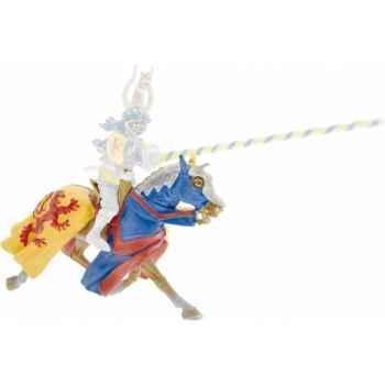 Figurine cheval jaune et bleu lion rouge Plastoy 62026