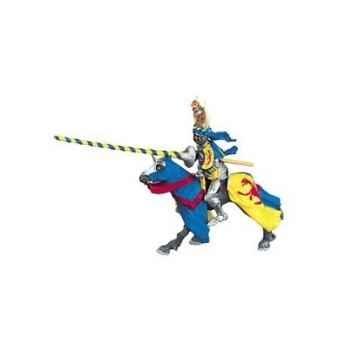 Collection les dragons chevalier cimier léopard et lance, jaune et bleu (cavalier) figurine sans chevalet Figurine Plastoy 62014