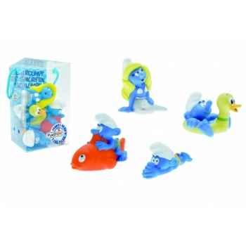 Jouets de bain schtroumpfs 4 pcs schtroumpfs bouée c, poisson et plongeur,schtroumpfette Figurine Plastoy 80530