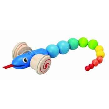 Serpent à tirer jouet en bois plantoys 5109