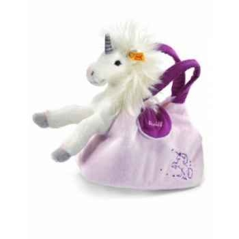 Peluche steiff licorne starly avec sac, blanc/rosé -015052