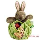 marionnette lapin dans une laitue avec 3 petites betes the puppet company pc003022