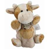 peluche histoire d ours marionnette pantin vache marron et beige ho1168