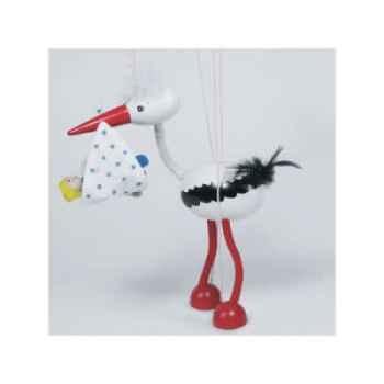 Marionnette Cigogne avec bébé à fil en bois Goki -51943