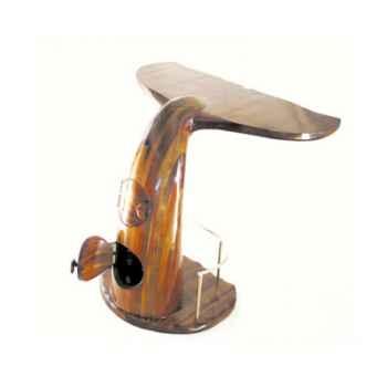 Le comptoir de bar queue de baleine avec rangement dans le piétement, en bois de Rauli - 50 cm x 120 cm x 110 cm - LAST-MQU110-R
