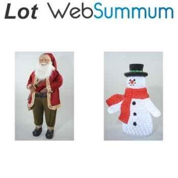 Grand décors Père Noël 180cm et bonhomme de neige 120cm lumineux -LWS-323