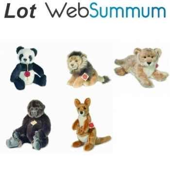 Lot 5 peluches animaux sauvages Panda, Lion, Lionne, Singe, Kangourou -LWS-390