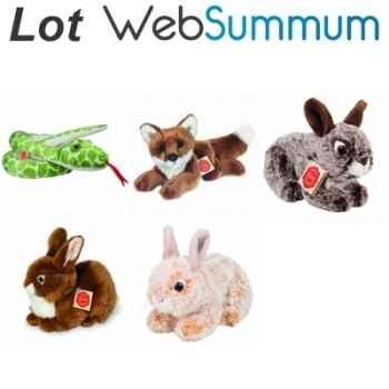 Lot 5 peluches animaux des bois et forêts serpent renard et lapins -LWS-393