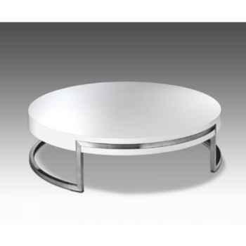 Table basse ronde Marais avec plateau bois -LOUNA110