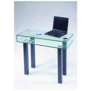 Petit bureau ordinateur Marais en verre trempé -ZEFORDI