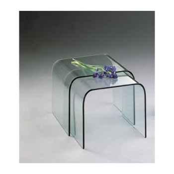 Table gigogne Marais en verre bombé -CGIGM