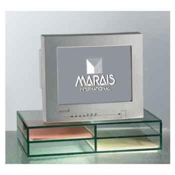 Support Marais ordinateur en verre avec casiers -CORDI