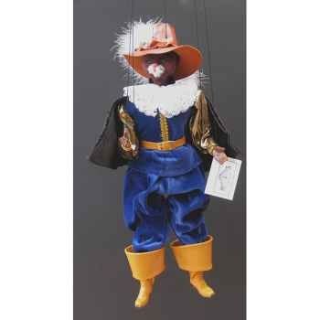 Marionnette têtes fourrure Marionnettes de France Chat mousquetaire bleu -FM401F01BL
