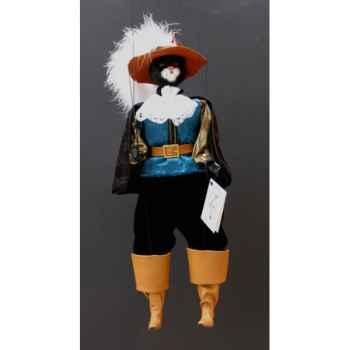 Marionnette têtes fourrure Marionnettes de France Chat mousquetaire bleunoir -FM401F01BN