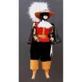 marionnette tetes fourrure marionnettes de france chat mousquetaire rouge noir fm401f01rn