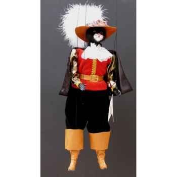 Marionnette têtes fourrure Marionnettes de France Chat mousquetaire rouge noir -FM401F01RN