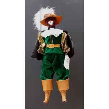 Marionnette têtes fourrure Marionnettes de France Chat mousquetaire vert -FM401F01VE