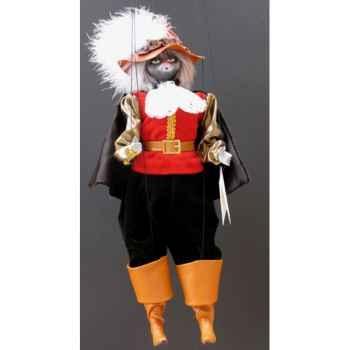 Marionnettes de France à Fils Chat mousquetaire rouge noir -FM401P01RN
