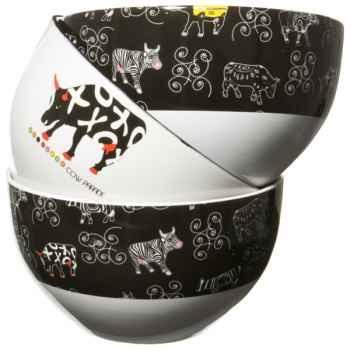 Bols noirs et blancs en porcelaine Vache Black Cow -blckBOLL