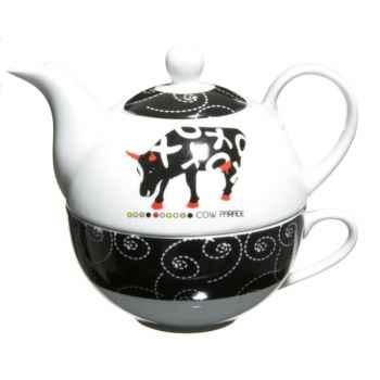 Théière égoïste avec tasse en porcelaine Vache Black Cow -blckEGOL