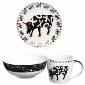 coffret dejeuner 3 pieces en porcelaine vache black cow blckdej2l