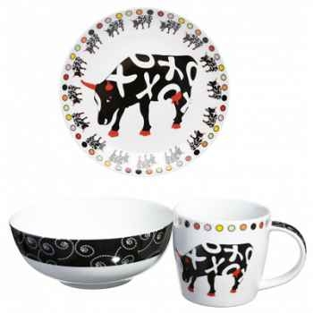Coffret déjeuner 3 pièces en porcelaine Vache Black Cow -blckDEJ2L