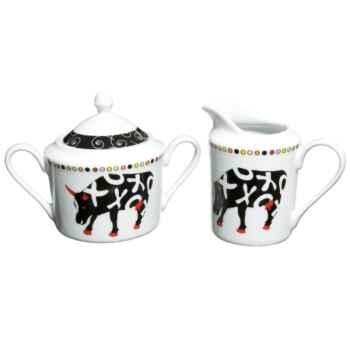 Pot à lait avec sucrier en porcelaine Vache Black Cow -blckPOTL