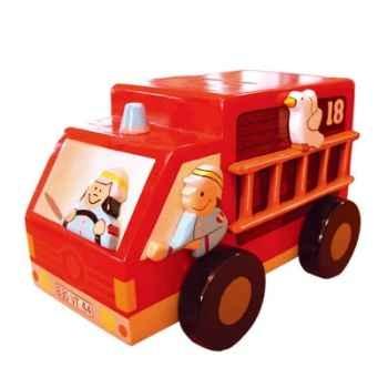 Tirelire maison Le coin des enfants camion pompier -01002