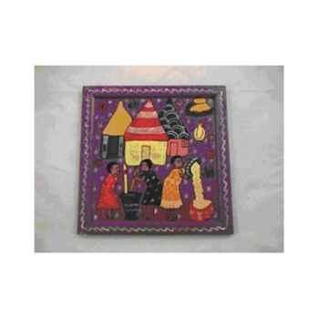 Plateau décoratif violet peint à la main Terre Sauvage -wf04