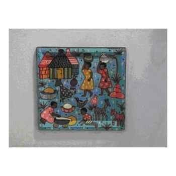 Plateau décoratif bleu peint à la main Terre Sauvage -wf05bleu