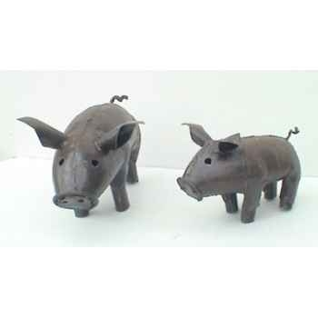 Famille Cochon en Métal Recyclé Terre Sauvage  -ma53