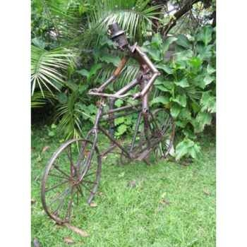 Cycliste en Métal Recyclé Terre Sauvage  -n12