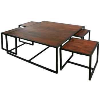 Table bois teintée acajou Hindigo -JE51MAHO