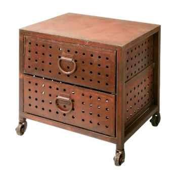Chevet à trous 2 tiroirs brosse Hindigo -JE57BRU