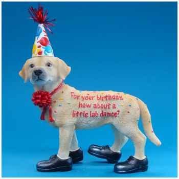 Figurine Chien Labrador Happy Birthday -HP16931