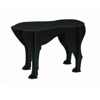 Tabouret chien Sultan Ibride Noir mat brossé -mobc-008